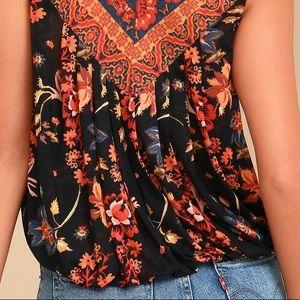 Free People Tops - FP Havana Floral Print Sleeveless Surplice top